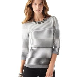 WHBM Silver Ombre Shimmer Holiday Sweater Small